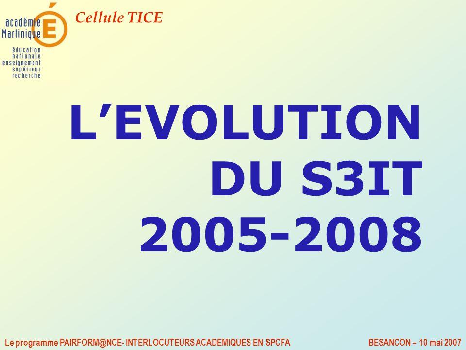 Cellule TICE Le programme PAIRFORM@NCE- INTERLOCUTEURS ACADEMIQUES EN SPCFA BESANCON – 10 mai 2007