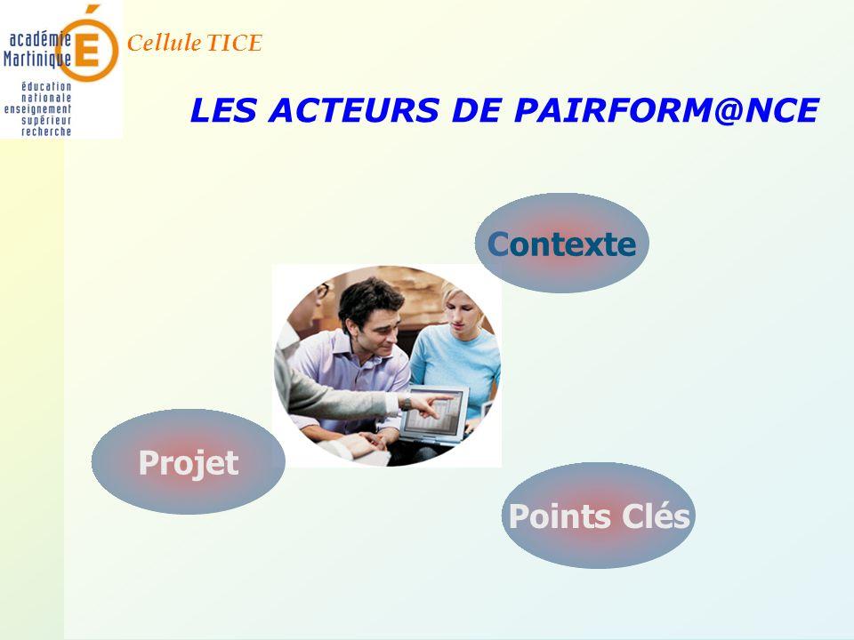 Cellule TICE LES ACTEURS DE PAIRFORM@NCE Contexte Points Clés Projet