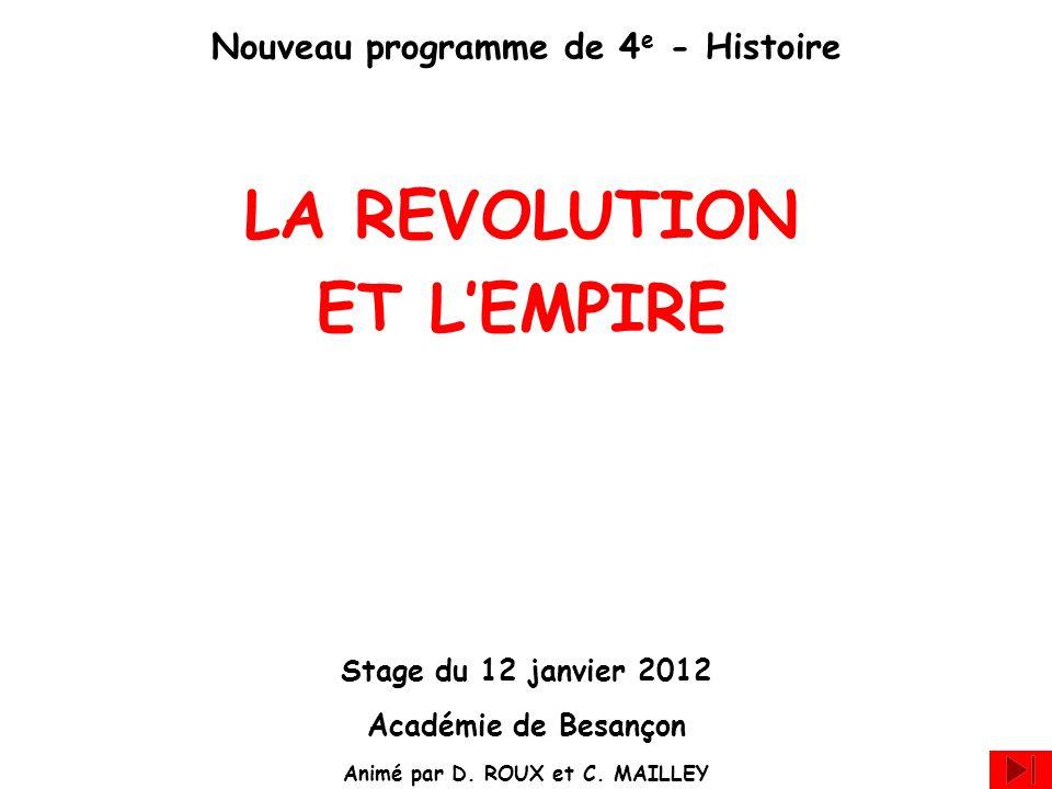 Nouveau programme de 4 e - Histoire LA REVOLUTION ET LEMPIRE Stage du 12 janvier 2012 Académie de Besançon Animé par D. ROUX et C. MAILLEY