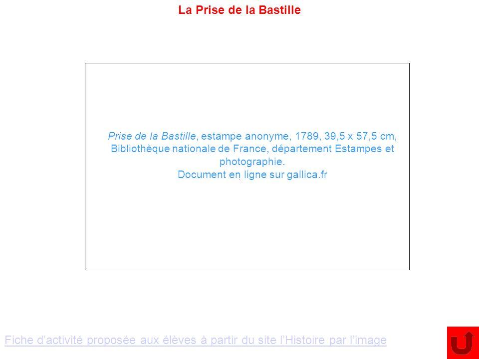 La Prise de la Bastille Prise de la Bastille, estampe anonyme, 1789, 39,5 x 57,5 cm, Bibliothèque nationale de France, département Estampes et photogr