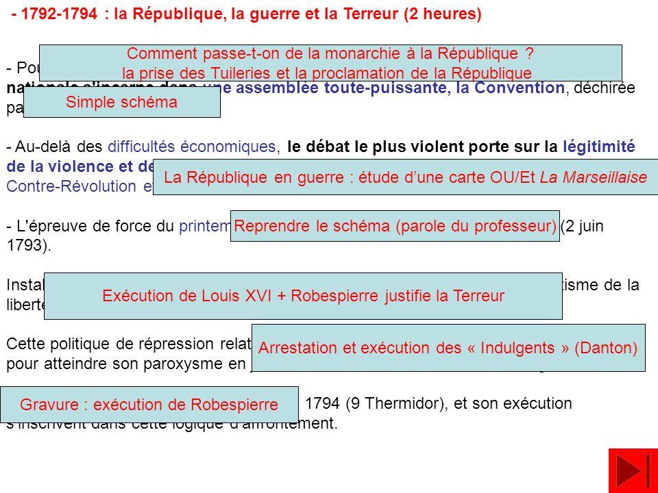 - 1792-1794 : la République, la guerre et la Terreur (2 heures) - Pour la première fois en France, une République est proclamée, la souveraineté natio