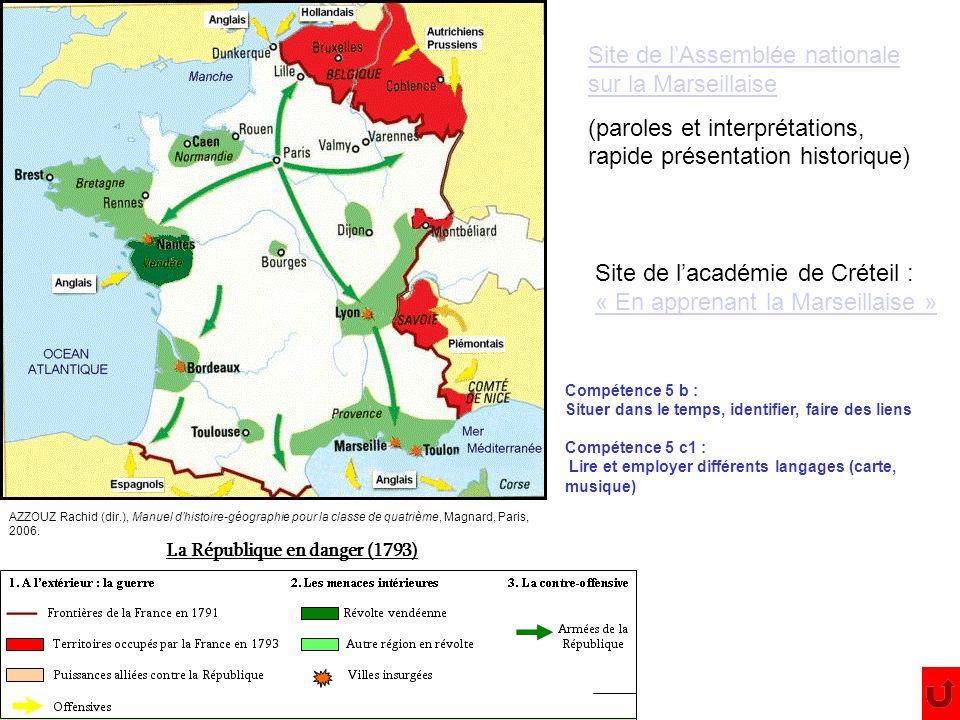 Site de lAssemblée nationale sur la Marseillaise (paroles et interprétations, rapide présentation historique) La République en danger (1793) AZZOUZ Ra