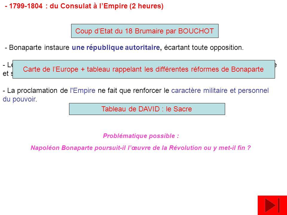- 1799-1804 : du Consulat à lEmpire (2 heures) - Bonaparte instaure une république autoritaire, écartant toute opposition. - Le Premier Consul constru