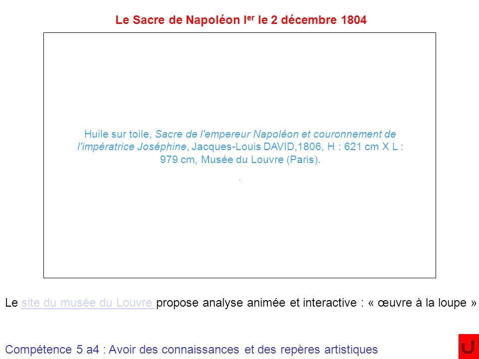 Huile sur toile, Sacre de l'empereur Napoléon et couronnement de l'impératrice Joséphine, Jacques-Louis DAVID,1806, H : 621 cm X L : 979 cm, Musée du
