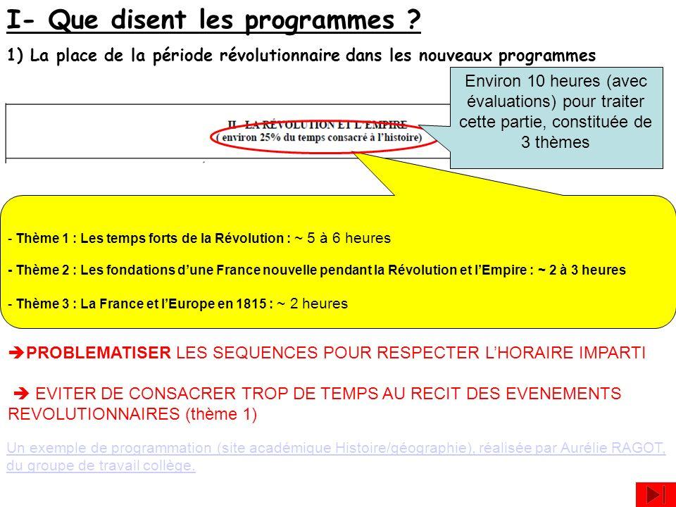 I- Que disent les programmes ? 1) La place de la période révolutionnaire dans les nouveaux programmes - Thème 1 : Les temps forts de la Révolution : ~