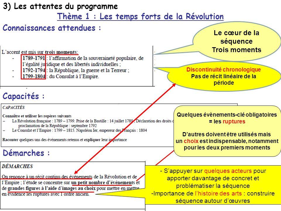 3) Les attentes du programme Capacités : Démarches : Thème 1 : Les temps forts de la Révolution Connaissances attendues : Discontinuité chronologique