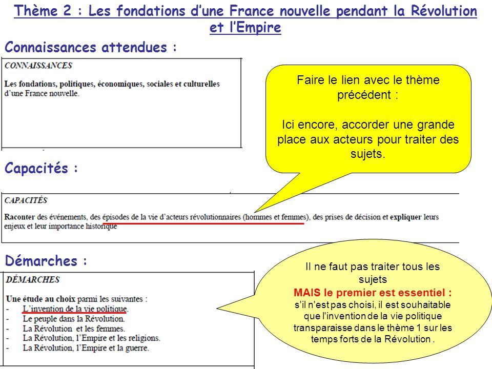 Thème 2 : Les fondations dune France nouvelle pendant la Révolution et lEmpire Connaissances attendues : Capacités : Démarches : Il ne faut pas traite