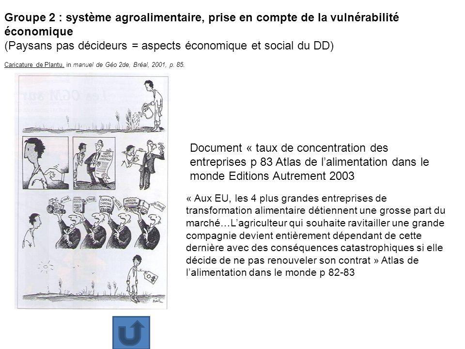Groupe 2 : système agroalimentaire, prise en compte de la vulnérabilité économique (Paysans pas décideurs = aspects économique et social du DD) Carica