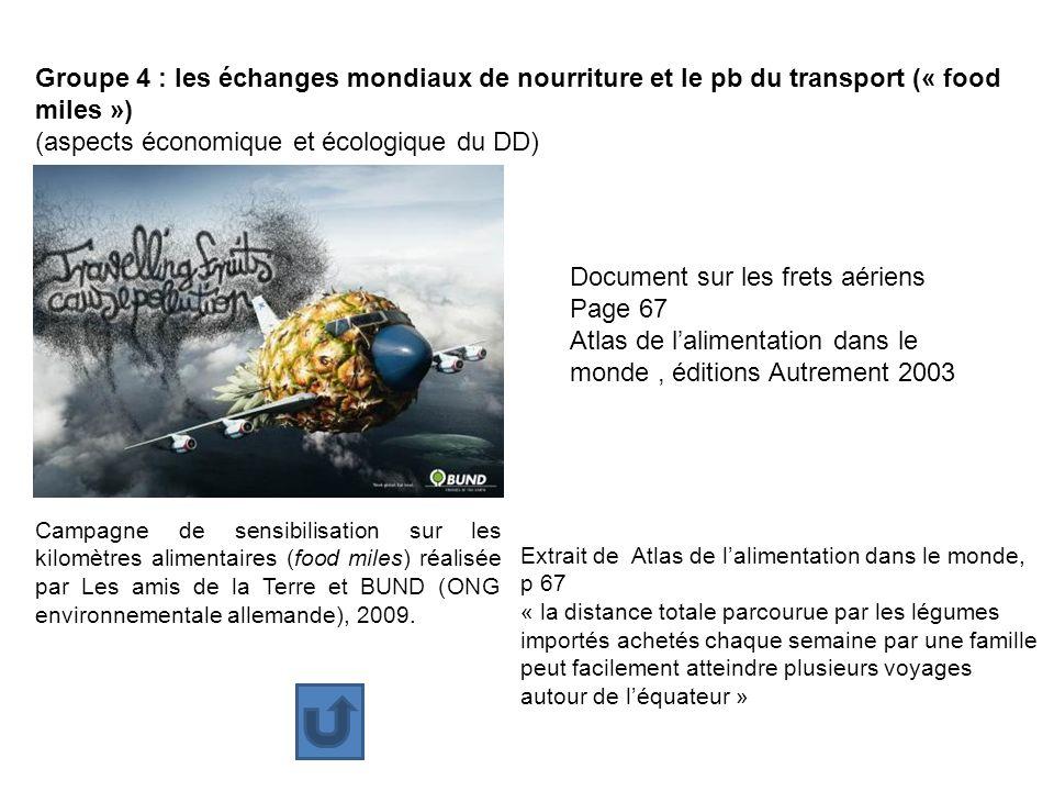 Groupe 4 : les échanges mondiaux de nourriture et le pb du transport (« food miles ») (aspects économique et écologique du DD) Campagne de sensibilisa
