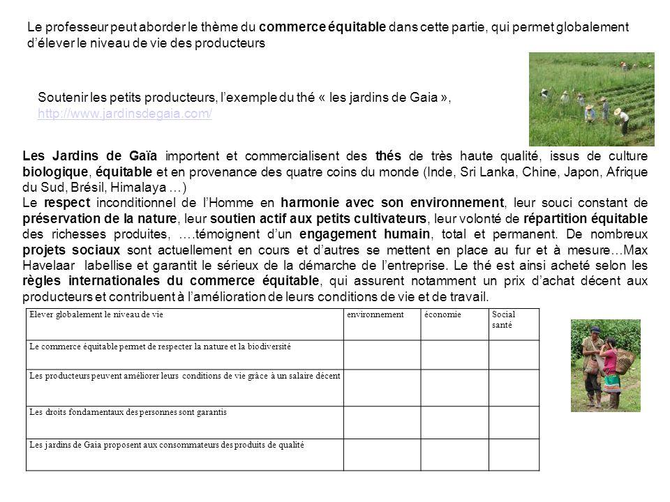 Soutenir les petits producteurs, lexemple du thé « les jardins de Gaia », http://www.jardinsdegaia.com/ http://www.jardinsdegaia.com/ Les Jardins de G