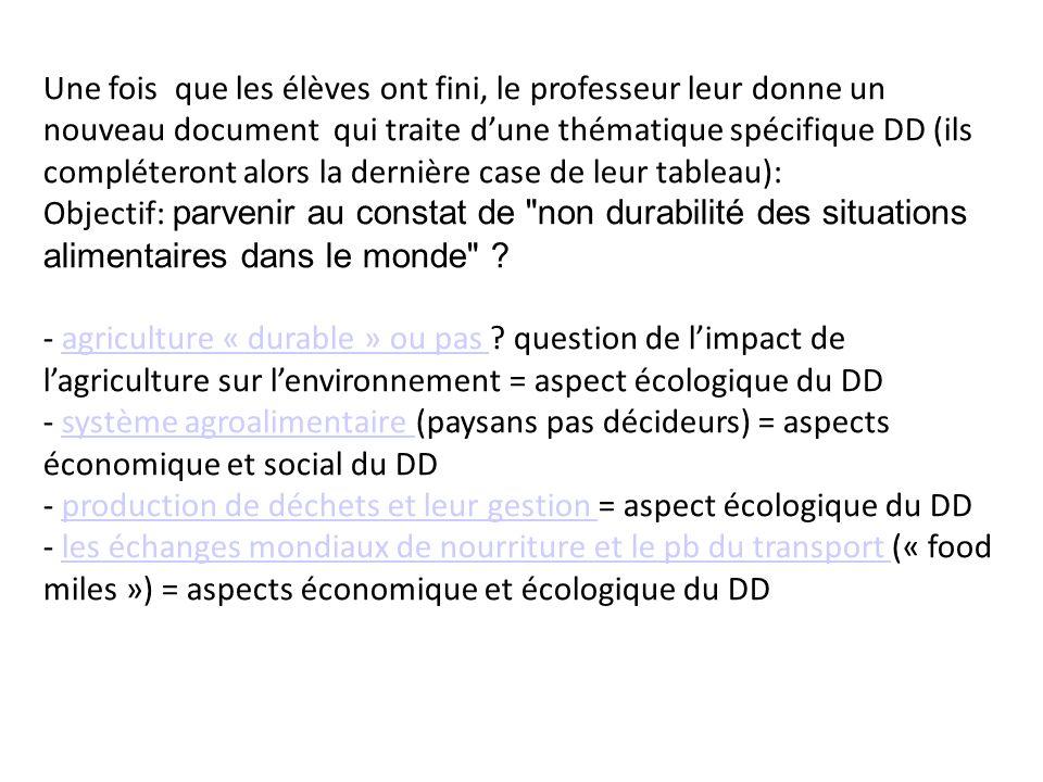 Une fois que les élèves ont fini, le professeur leur donne un nouveau document qui traite dune thématique spécifique DD (ils compléteront alors la der