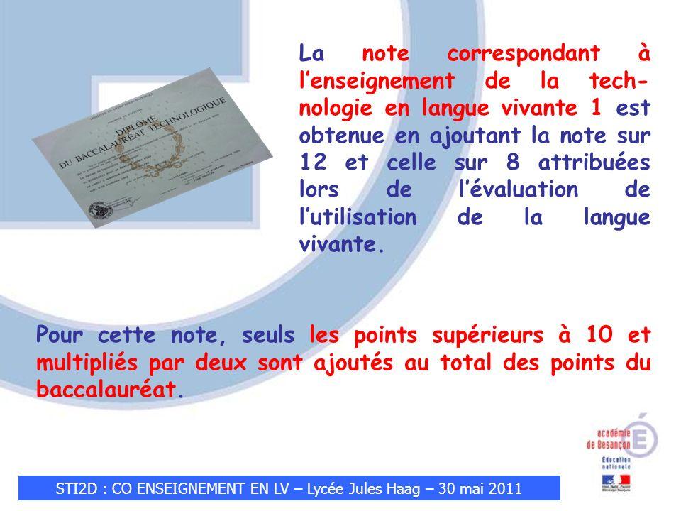 STI2D : CO ENSEIGNEMENT EN LV – Lycée Jules Haag – 30 mai 2011 Pour cette note, seuls les points supérieurs à 10 et multipliés par deux sont ajoutés au total des points du baccalauréat.