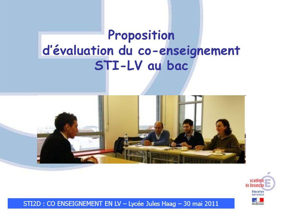 STI2D : CO ENSEIGNEMENT EN LV – Lycée Jules Haag – 30 mai 2011 Proposition dévaluation du co-enseignement STI-LV au bac