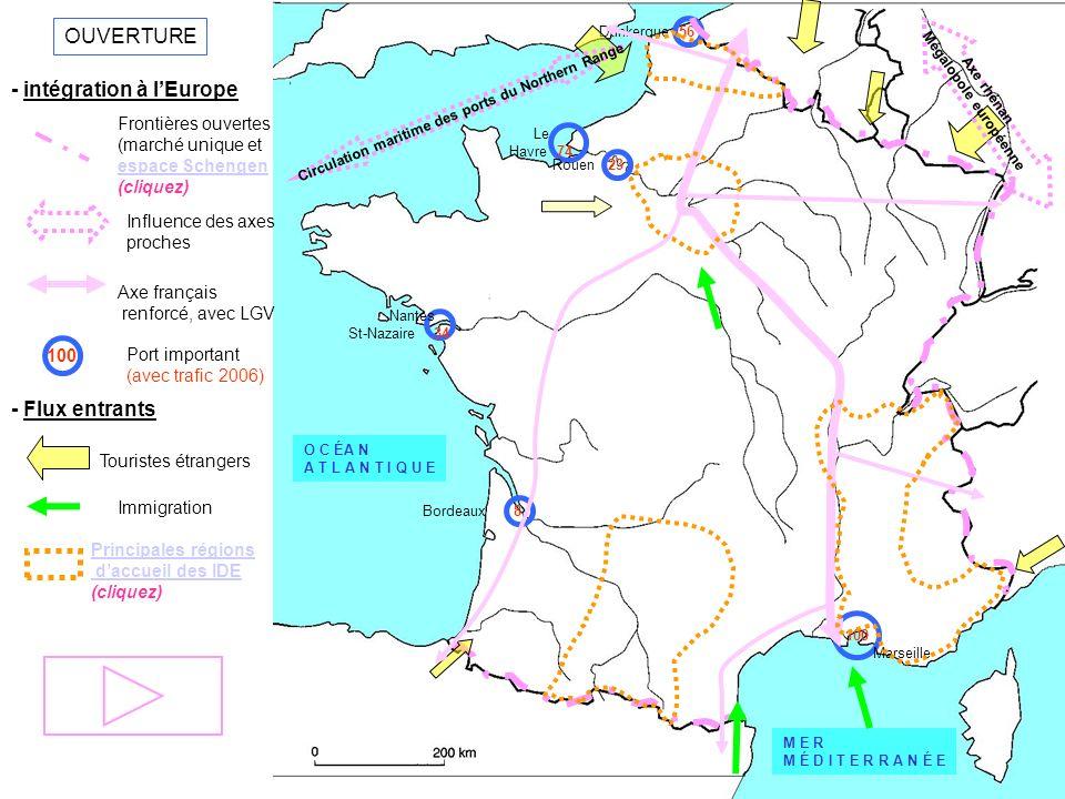 OUVERTURE - intégration à lEurope Frontières ouvertes (marché unique et espace Schengen (cliquez) Influence des axes proches Axe français renforcé, av