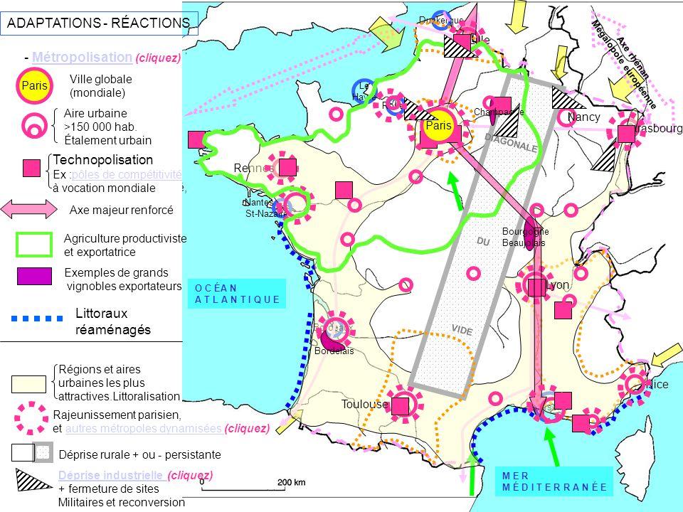 La métropolisation conduit a une concentration des activités et des personnes dans les grandes villes par un effet dattractivité.