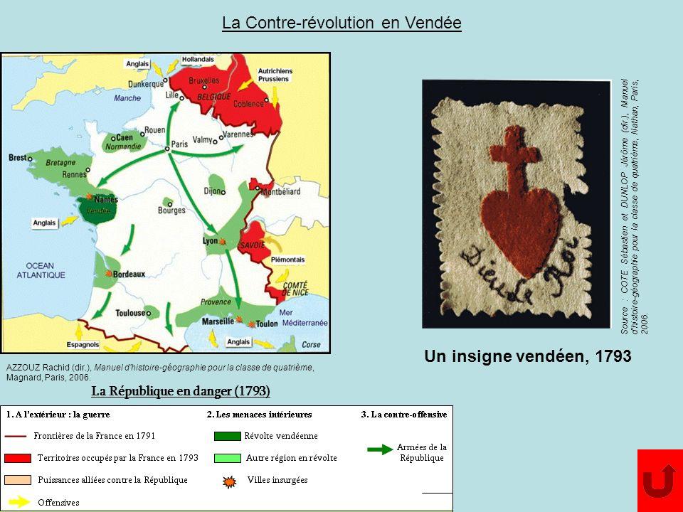 La République en danger (1793) AZZOUZ Rachid (dir.), Manuel dhistoire-géographie pour la classe de quatrième, Magnard, Paris, 2006. Source : COTE Séba