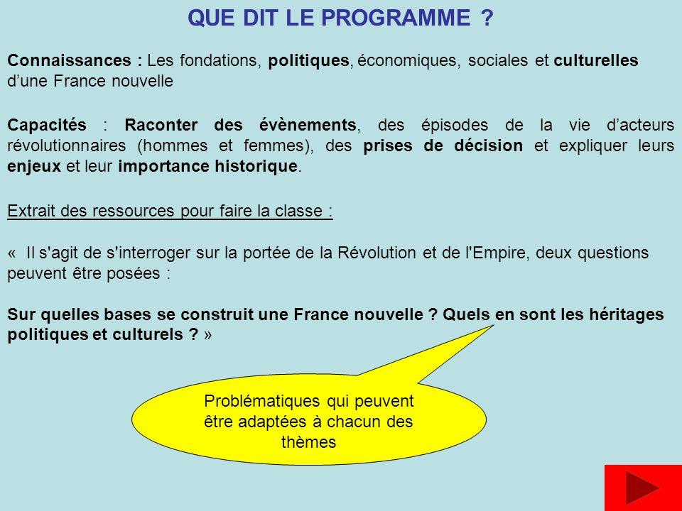 Connaissances : Les fondations, politiques, économiques, sociales et culturelles dune France nouvelle Capacités : Raconter des évènements, des épisode