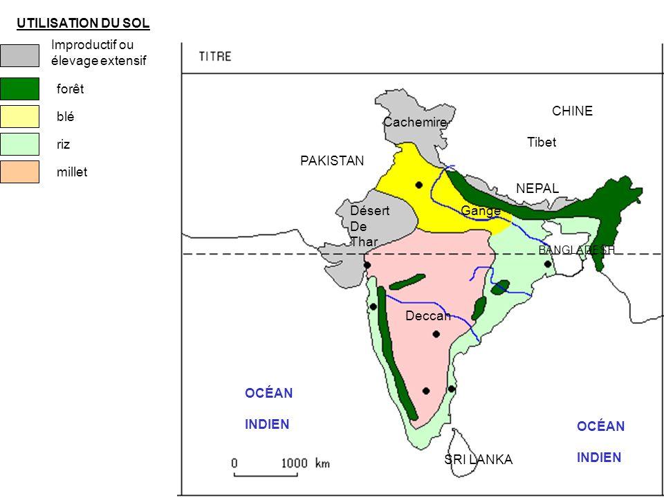 UTILISATION DU SOL Improductif ou élevage extensif forêt blé riz millet OCÉAN INDIEN PAKISTAN NEPAL Cachemire Gange CHINE Tibet OCÉAN INDIEN BANGLADESH SRI LANKA Deccan Désert De Thar