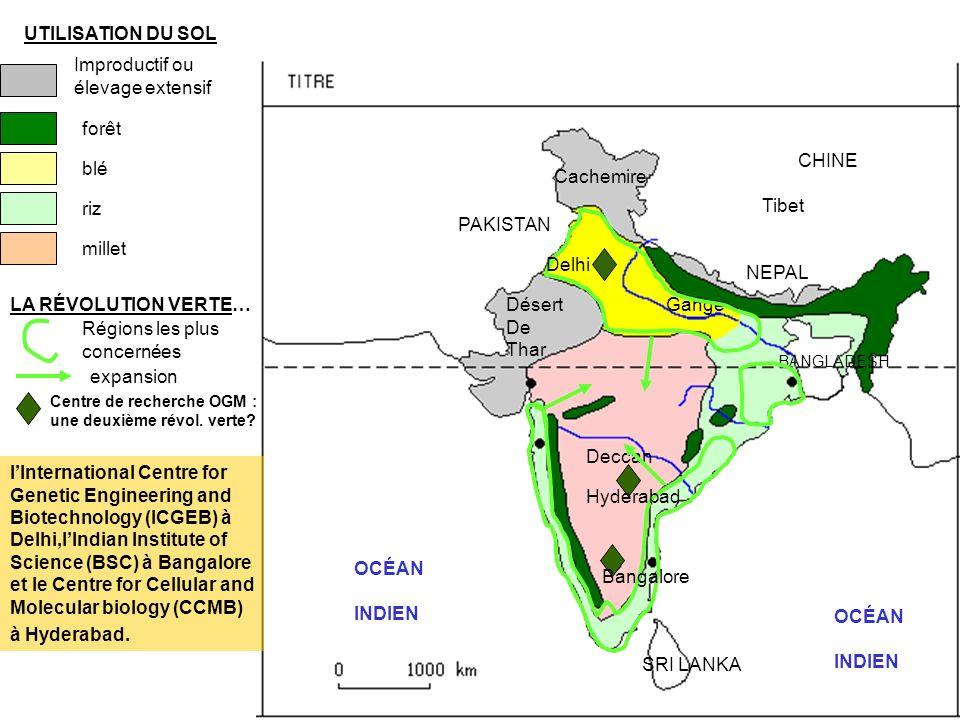 UTILISATION DU SOL Improductif ou élevage extensif forêt blé riz millet OCÉAN INDIEN PAKISTAN NEPAL Cachemire Gange CHINE Tibet OCÉAN INDIEN BANGLADESH SRI LANKA Deccan LA RÉVOLUTION VERTE… Régions les plus concernées expansion … ET SES EFFETS Hauts rendements Pollution des sols Catastrophe de Bhopal 1984 Exode rural Bidonvilles plus étendus Mumbay Kolkata Hyderabad Le 2 décembre 1984, une fuite de 35 tonnes de gaz a lieu dans lusine de pesticide de lUnion Carbide de Bhopal : depuis 1984, le nombre de décès s élève à plus de 20 000 personnes dont 7000 pendant la catastrophe.