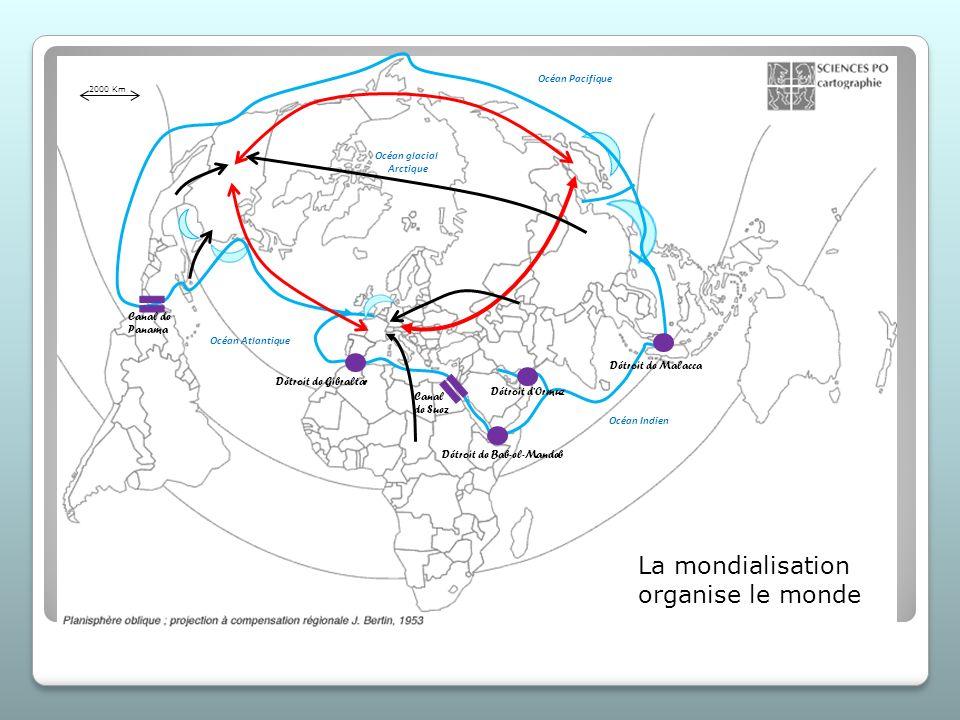 La mondialisation organise le monde Canal de Panama Canal de Suez Détroit de Gibraltar Détroit de Bab-el-Mandeb Détroit de Malacca Détroit dOrmuz Océa