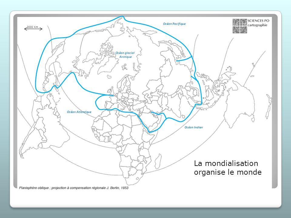 La mondialisation organise le monde Océan Atlantique Océan glacial Arctique Océan Pacifique Océan Indien 2000 Km