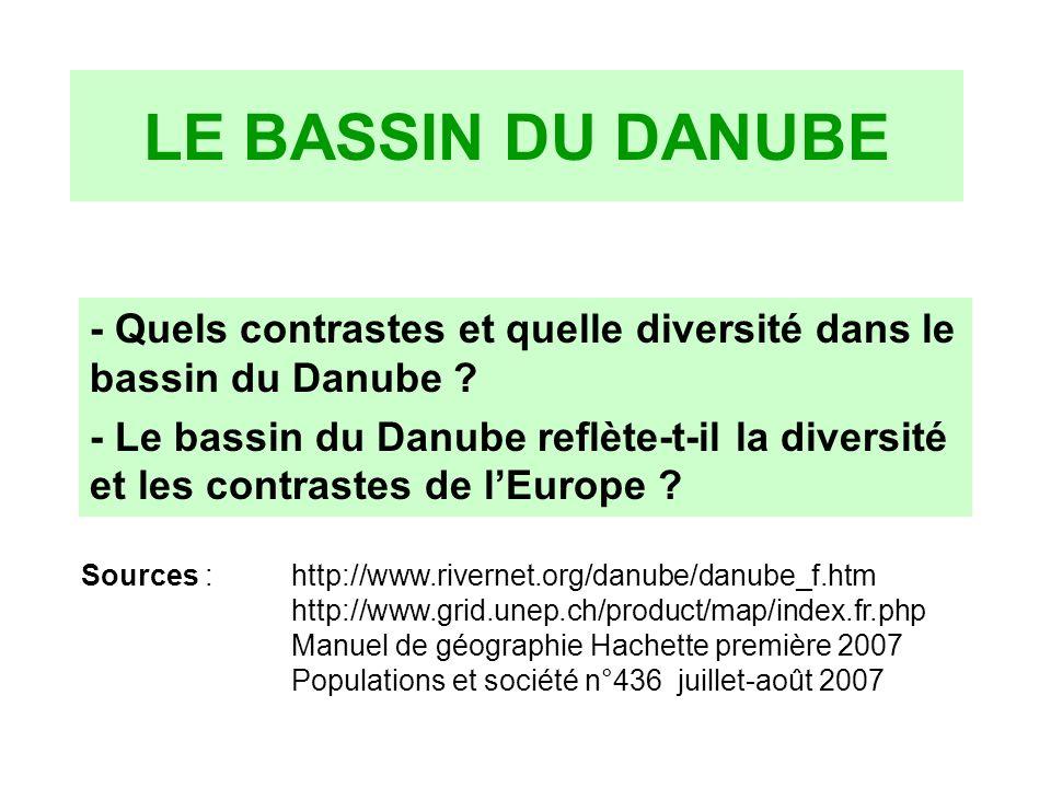 LE BASSIN DU DANUBE - Quels contrastes et quelle diversité dans le bassin du Danube ? - Le bassin du Danube reflète-t-il la diversité et les contraste