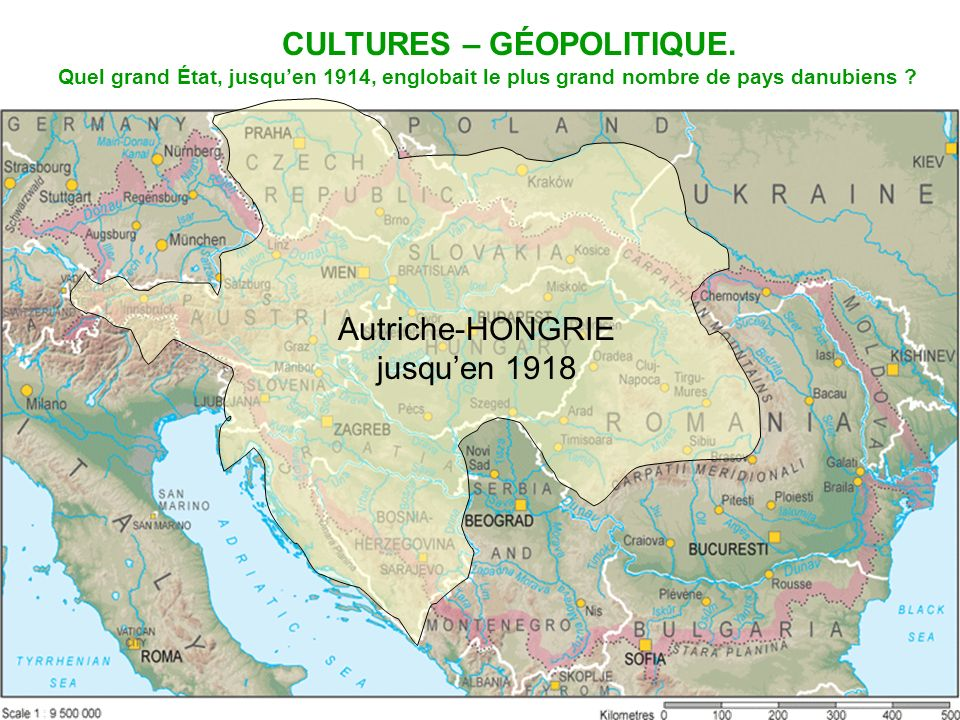 Autriche-HONGRIE jusquen 1918 Quel grand État, jusquen 1914, englobait le plus grand nombre de pays danubiens ? CULTURES – GÉOPOLITIQUE.