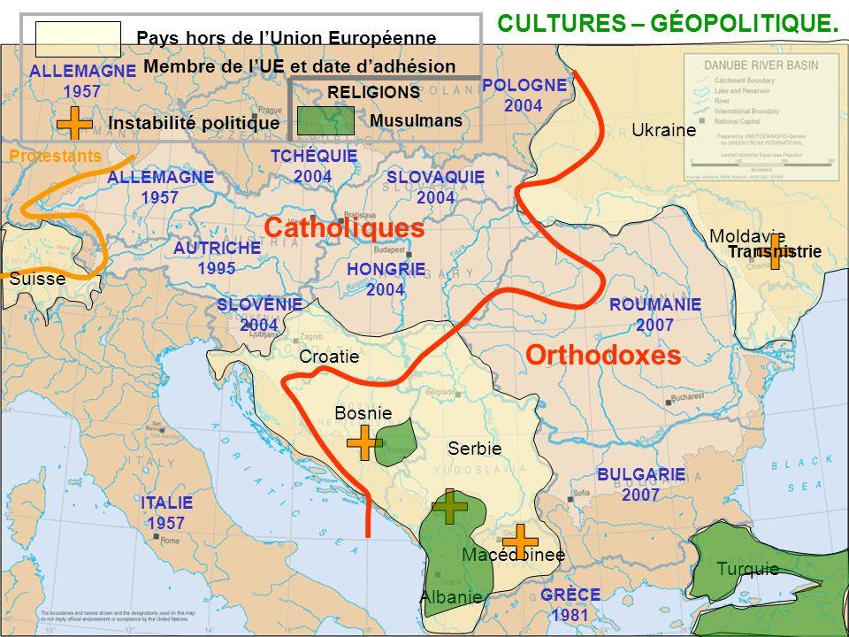 Turquie Pays hors de lUnion Européenne Moldavie Ukraine Albanie Serbie Bosnie Croatie Macédoinee Transnistrie Instabilité politique Catholiques Orthod