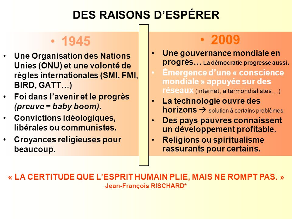 DES RAISONS DESPÉRER 1945 Une Organisation des Nations Unies (ONU) et une volonté de règles internationales (SMI, FMI, BIRD, GATT…) Foi dans lavenir et le progrès (preuve = baby boom).