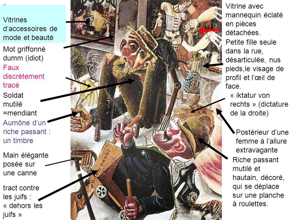 cavités faciales béantes = champs troués dobus Interprétation du tableau Antisémitisme: les juifs sont considérés comme responsables des malheurs de lAllemagne, selon lextrême droite.