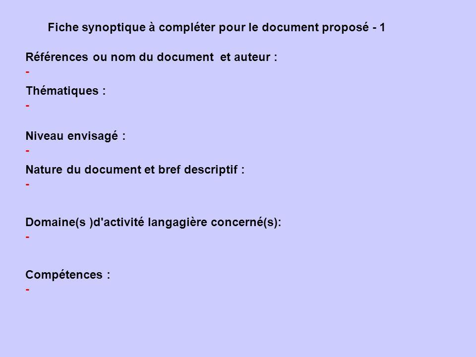 Fiche synoptique à compléter pour le document proposé - 1 Références ou nom du document et auteur : - Niveau envisagé : - Nature du document et bref d
