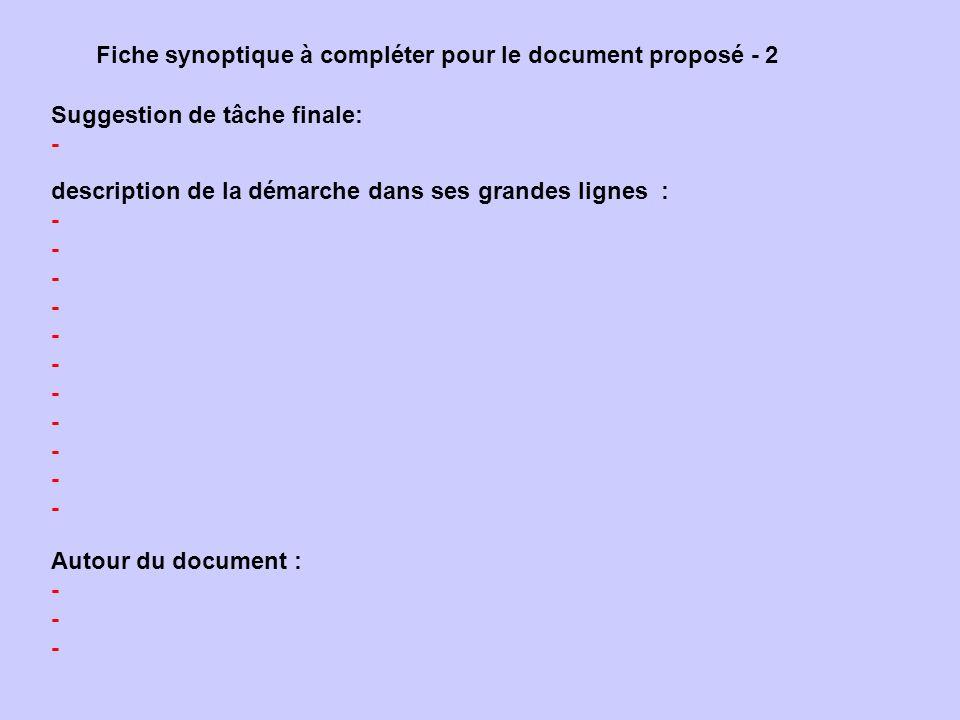Fiche synoptique à compléter pour le document proposé - 2 Suggestion de tâche finale: - description de la démarche dans ses grandes lignes : - Autour