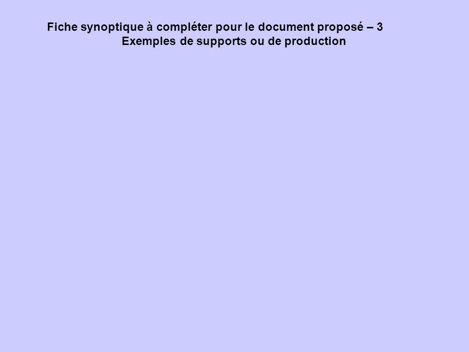 Fiche synoptique à compléter pour le document proposé – 3 Exemples de supports ou de production
