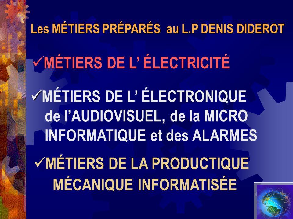 Les MÉTIERS PRÉPARÉS au L.P DENIS DIDEROT MÉTIERS DE L ÉLECTRICITÉ MÉTIERS DE L ÉLECTRONIQUE de lAUDIOVISUEL, de la MICRO INFORMATIQUE et des ALARMES