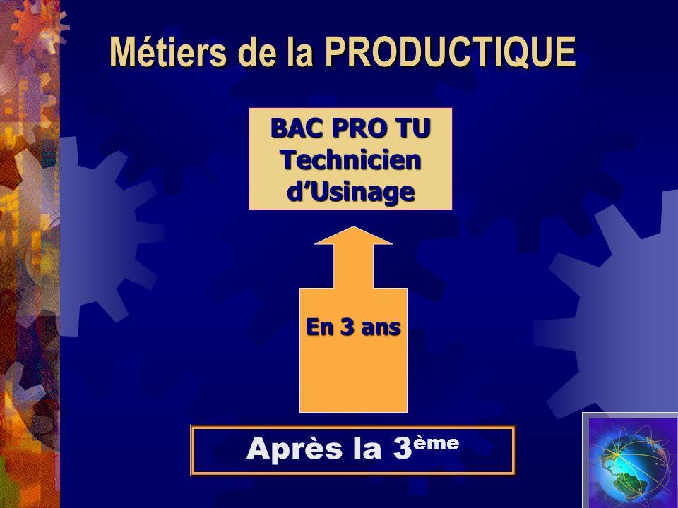 Métiers de la PRODUCTIQUE Après la 3 ème En 3 ans BAC PRO TU Technicien dUsinage