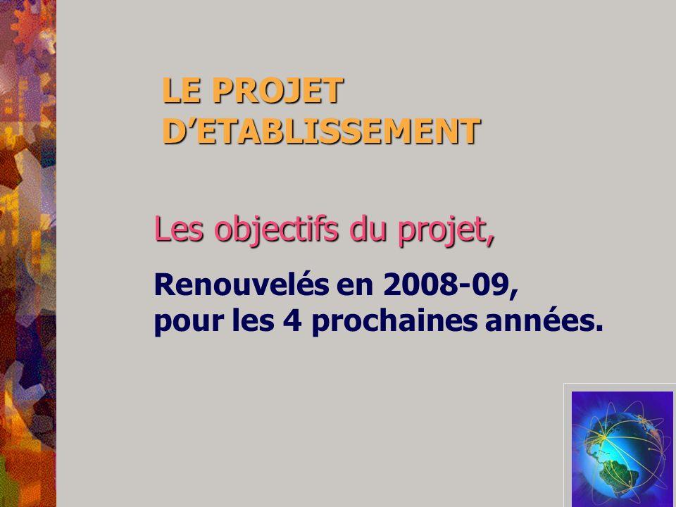 LE PROJET DETABLISSEMENT Les objectifs du projet, Renouvelés en 2008-09, pour les 4 prochaines années.