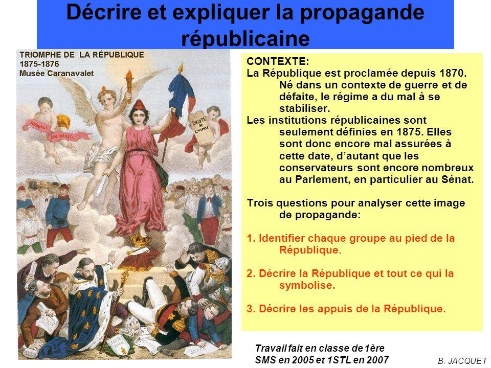 Décrire et expliquer la propagande républicaine CONTEXTE: La République est proclamée depuis 1870. Né dans un contexte de guerre et de défaite, le rég