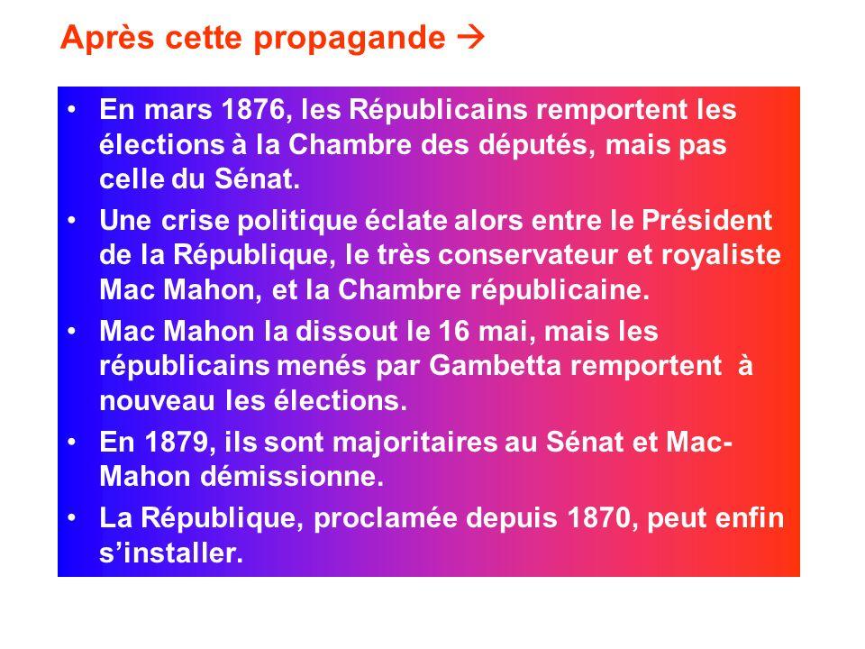 Après cette propagande En mars 1876, les Républicains remportent les élections à la Chambre des députés, mais pas celle du Sénat. Une crise politique