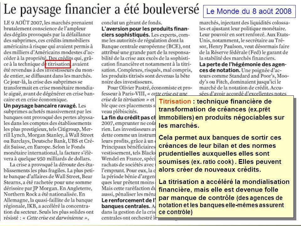 Le Monde du 8 août 2008 Titrisation : technique financière de transformation de créances (ex.prêt immobiliers) en produits négociables sur les marchés