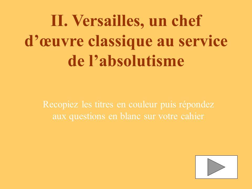 II. Versailles, un chef dœuvre classique au service de labsolutisme Recopiez les titres en couleur puis répondez aux questions en blanc sur votre cahi