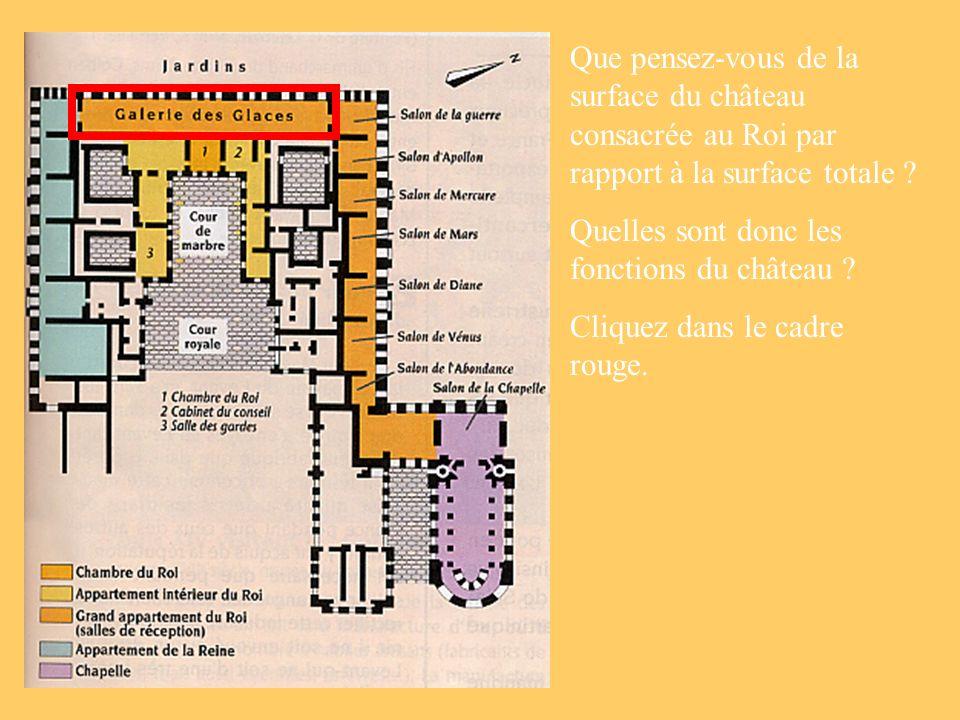 Que pensez-vous de la surface du château consacrée au Roi par rapport à la surface totale ? Quelles sont donc les fonctions du château ? Cliquez dans