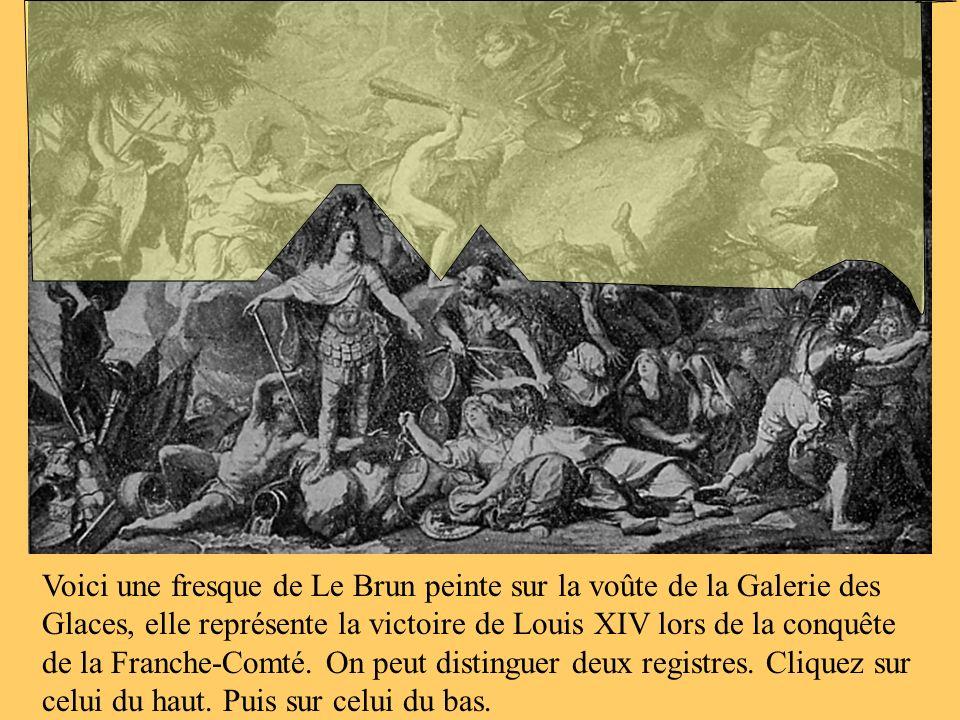 Voici une fresque de Le Brun peinte sur la voûte de la Galerie des Glaces, elle représente la victoire de Louis XIV lors de la conquête de la Franche-