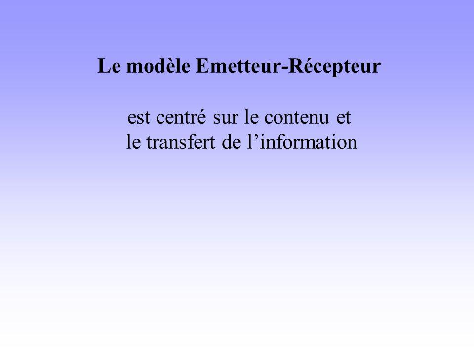Modèle émetteur-récepteur Linéarité cause-effet Le sens du message est une donnée et ce message (la cause) parcourt le canal et va produire un effet chez le récepteur