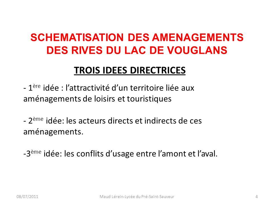 SCHEMATISATION DES AMENAGEMENTS DES RIVES DU LAC DE VOUGLANS 08/07/2011Maud Lérein-Lycée du Pré-Saint-Sauveur4 - 1 ère idée : lattractivité dun territ