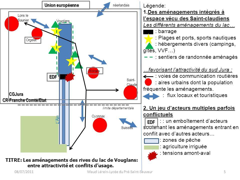 Légende: 1.Des aménagements intégrés à lespace vécu des Saint-claudiens Les différents aménagements du lac… : barrage : Plages et ports, sports nautiq
