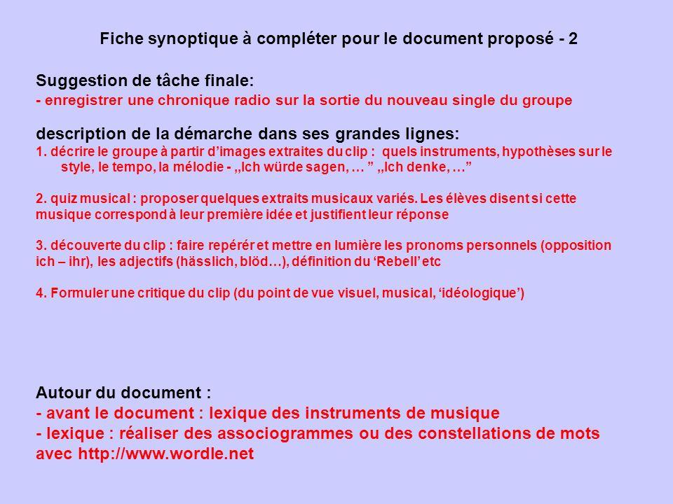 Fiche synoptique à compléter pour le document proposé - 2 Suggestion de tâche finale: - enregistrer une chronique radio sur la sortie du nouveau singl