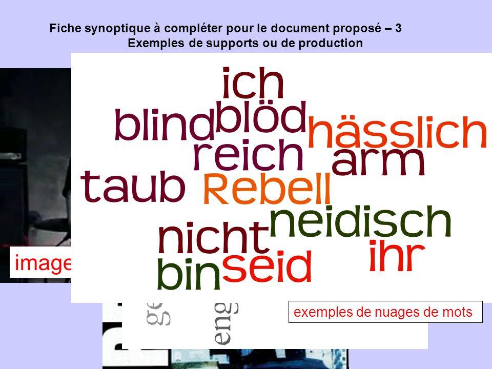 Fiche synoptique à compléter pour le document proposé – 3 Exemples de supports ou de production Pochette du single image du clip exemples de nuages de