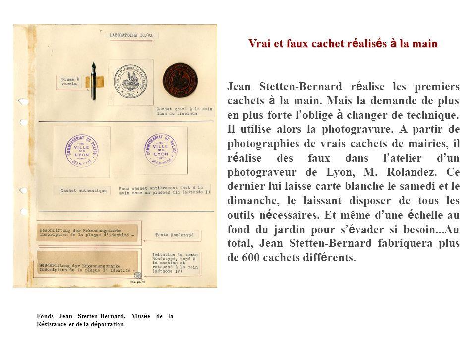 Fausse carte d identit é Pour fabriquer de fausses cartes d identit é, Jean Stetten-Bernard se procure le papier en librairie.