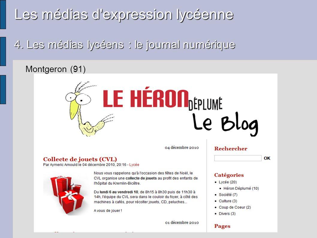 Les médias d'expression lycéenne 4. Les médias lycéens : le journal numérique Montgeron (91)