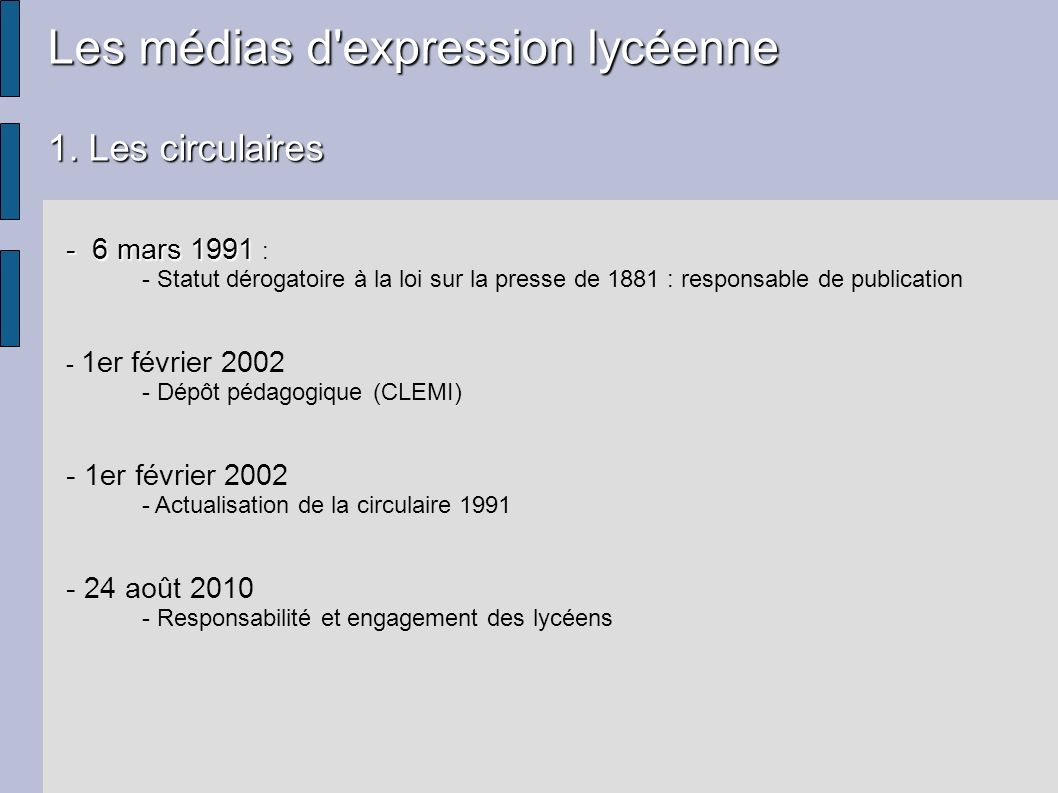 Les médias d'expression lycéenne 1. Les circulaires - 6 mars 1991 - 6 mars 1991 : - Statut dérogatoire à la loi sur la presse de 1881 : responsable de
